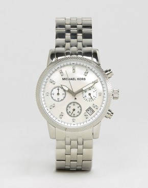 Image 1 ofMichael Kors Silver Chronograph Bracelet Watch