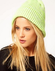ASOS Neon Rib Boyfriend Knit Beanie