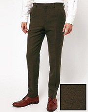 ASOS Skinny Fit Suit Trousers in Brown
