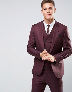 ASOS Skinny Suit Jacket in Dark Berry 100% Wool
