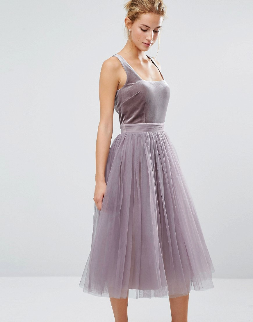 Little Mistress Tulle Midi Dress with Velvet Bodice