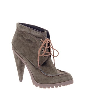 Image 1 ofASOS TIMBER Suede Padded Collar Lace Up Boots