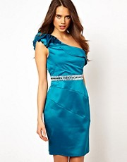 Lipsy One Shoulder Satin Dress with Diamante Waistband