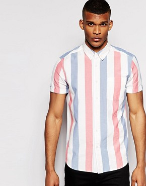 ASOS Shirt In Short Sleeve With Deck Chair Stripe