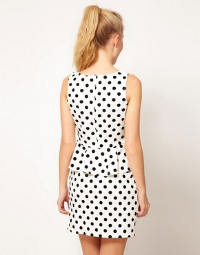 Image 2 ofGlamorous Flocked Spot Peplum Dress