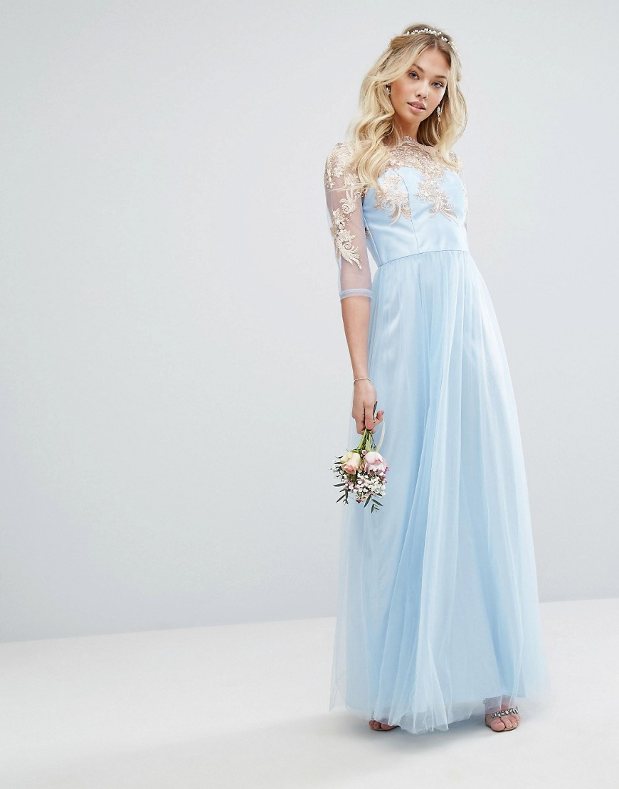 Chi Chi London Metallic Premium Lace Maxi Dress With Tulle Skirt