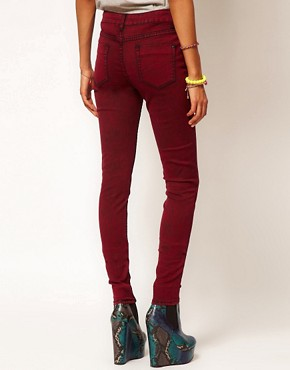 Image 2 ofASOS Skinny Jeans in Red Snow Wash