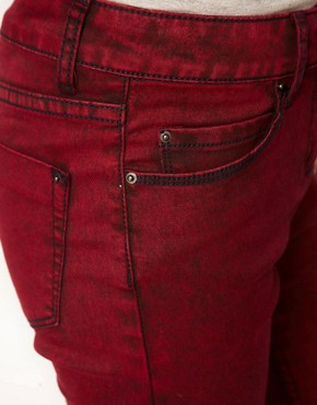 Image 3 ofASOS Skinny Jeans in Red Snow Wash