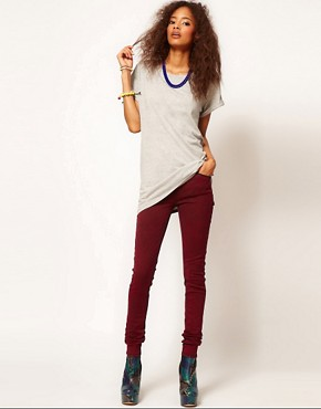 Image 4 ofASOS Skinny Jeans in Red Snow Wash
