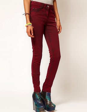 Image 1 ofASOS Skinny Jeans in Red Snow Wash