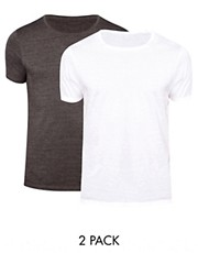 ASOS T-Shirt With Crew Neck 2 Pack White/Charcoal SAVE £2