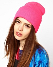 American Apparel  Neonfarbene Strickmtze mit Umschlag