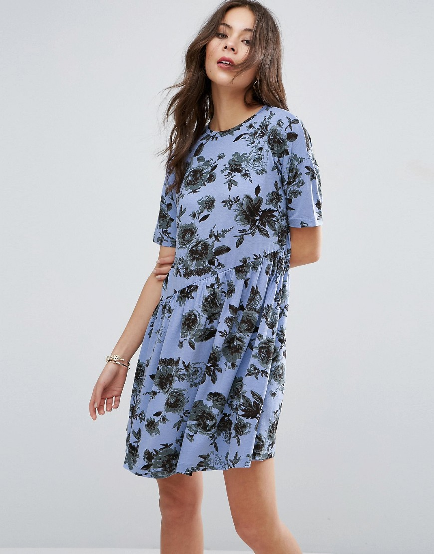 ASOS Asymmetric Smock Dress In Floral Print - Multi