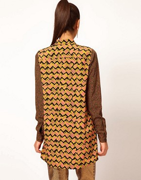 Image 2 ofAqua Holly Digital Print Long Line Shirt