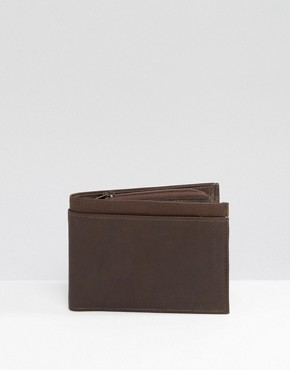 River Island Leather Wallet In Brown
