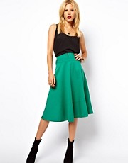 ASOS Midi Skirt With High Waist Zip Detail