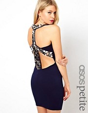 ASOS PETITE Exclusive Bodycon Dress With Mirror Embellished Back