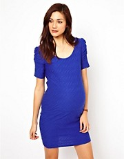 New Look Maternity Short Sleeve Textured Body-Conscious Dress