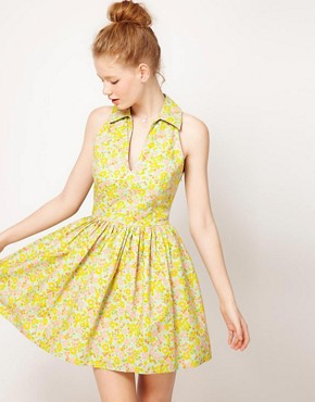 Image 1 of ASOS Printed Summer Dress With Collar