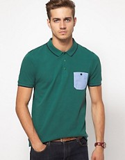 ASOS Polo With Chambray Pocket And Contrast Tipping