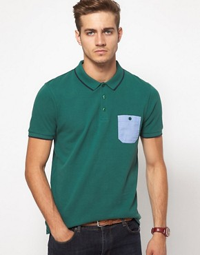 Image 1 ofASOS Polo With Chambray Pocket And Contrast Tipping