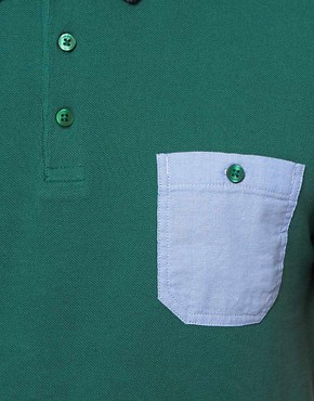 Image 3 ofASOS Polo With Chambray Pocket And Contrast Tipping