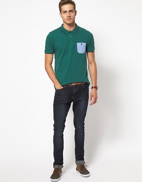 Image 4 ofASOS Polo With Chambray Pocket And Contrast Tipping