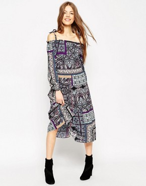 ASOS Boho Midi Dress With Tie Detail Shoulder in Paisley