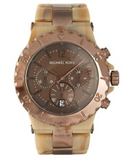 Michael Kors Espresso And Khaki Oversized Chronograph Bracelet Watch