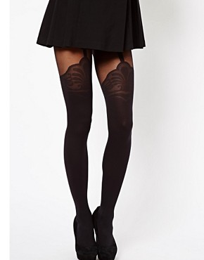 Image 1 ofASOS Tights With Decorative Suspender Detail
