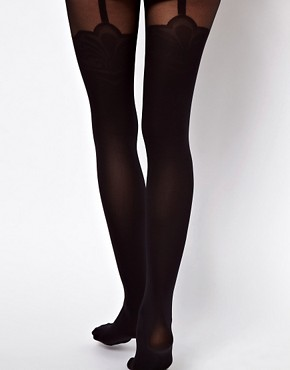 Image 2 ofASOS Tights With Decorative Suspender Detail