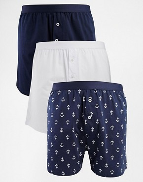 ASOS 3 Pack Jersey Boxer with Anchor Print
