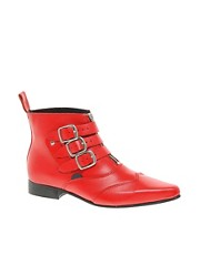 Underground Blitz Winklepicker Red Ankle Boots