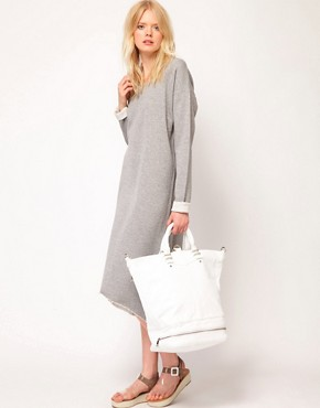 Image 4 ofJust Female Lurex Sweatshirt Midi Dress