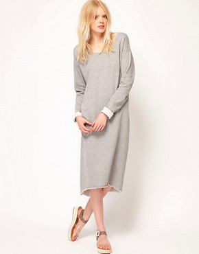 Image 1 ofJust Female Lurex Sweatshirt Midi Dress