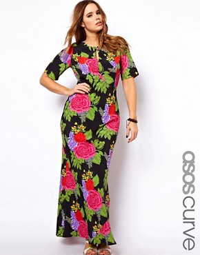 Image 1 of ASOS CURVE Maxi Dress With Tie Back In Floral Print