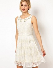 Frock and Frill Lace Dress with Sequin Embellishment