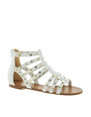 ALDO Brigida White Stud Gladiator Sandals