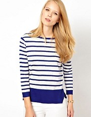Whistles Joy Fine Knit Stripe Sweat Top