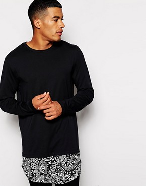 ASOS Super Longline Long Sleeve T-Shirt With Paisley Extended Hem