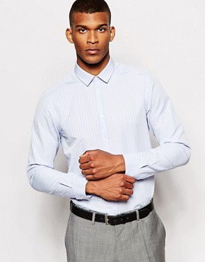 ASOS Smart Shirt In Long Sleeve With Chambray Stripe