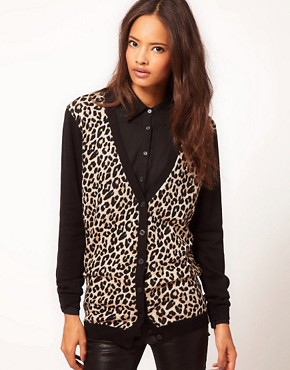 Image 1 ofASOS Leopard Cardigan With Contrast Sleeves