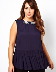 New Look Inspire Embellished Collar Peplum Top
