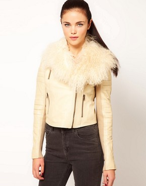 Image 1 ofRiver Island Leather Biker Jacket With Fur Collar