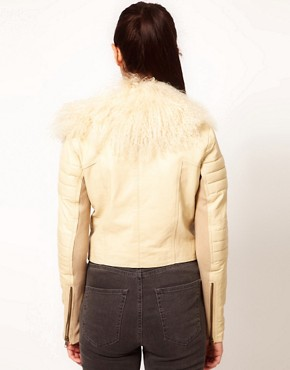 Image 2 ofRiver Island Leather Biker Jacket With Fur Collar