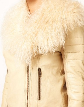 Image 3 of River Island Leather Biker Jacket With Fur Collar