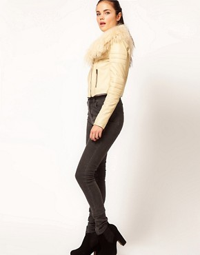 Image 4 ofRiver Island Leather Biker Jacket With Fur Collar
