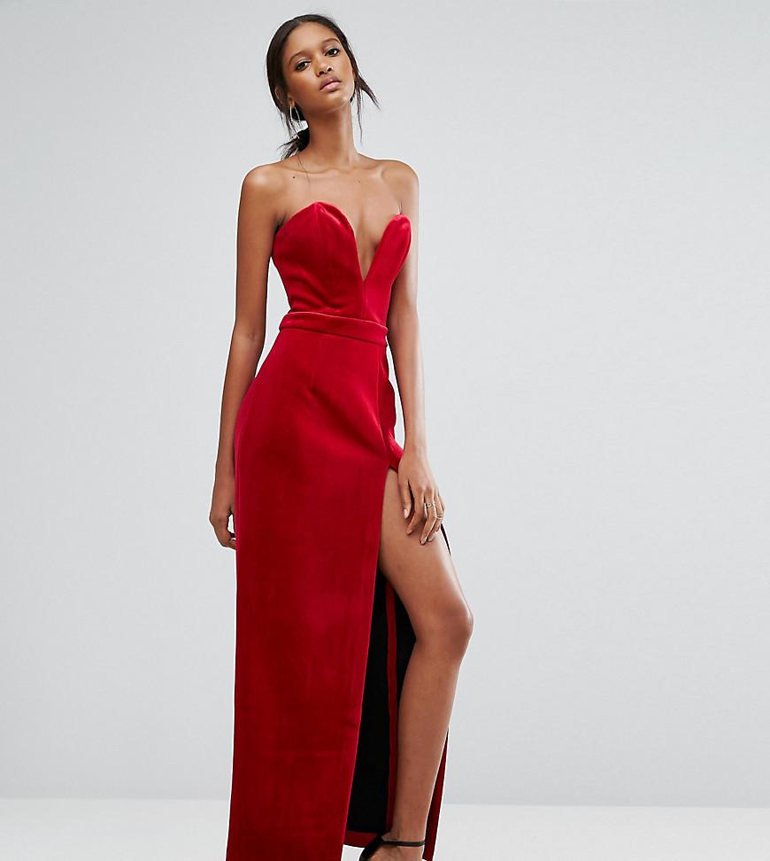 TTYA Black Bonded Velvet Sweetheart Bandeau Maxi Dress With Thigh Split