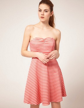 Image 1 ofVila Stripe Bandeau Fit and Flare Dress
