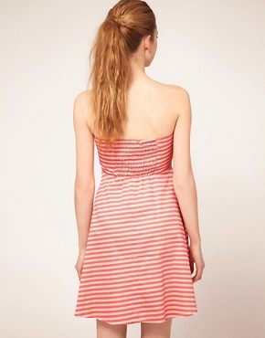 Image 2 ofVila Stripe Bandeau Fit and Flare Dress